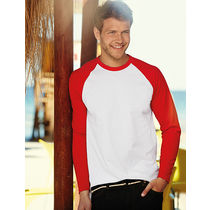 Camiseta long baseball fruit of the loom 160 grabada blanco rojo