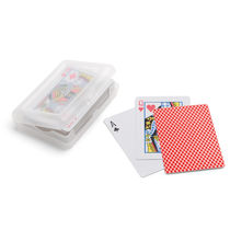 Cartas de poker en caja de plastico personalizado rojo