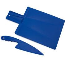 Tabla de cocina flexible y cuchillo personalizada azul