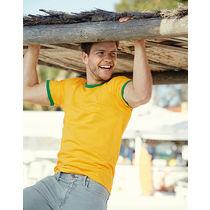 Camiseta ringer fruit of the loom 165 personalizada amarillo verde