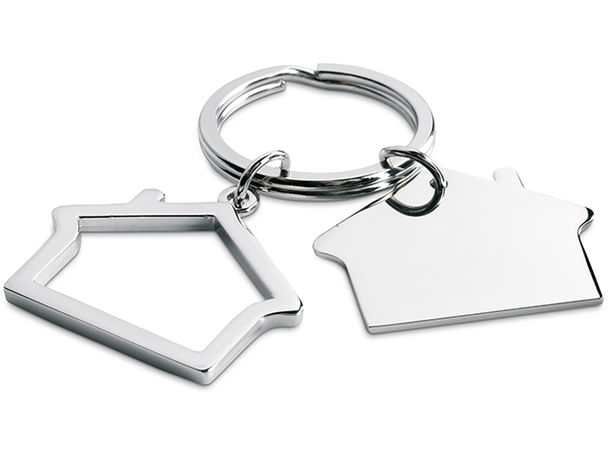 Llavero doble en forma de casa personalizado plata brillante