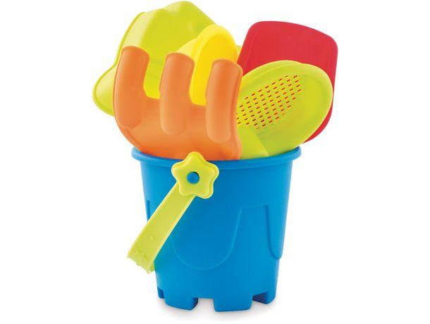 Cubo de playa con 6 juguetes personalizado