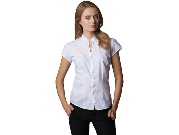 Blusa cuello mandarin de mujer kustom kit 115 personalizada blanco