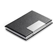 Tarjetero en aluminio y polipiel apertura clip personalizado negro
