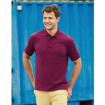 Polo grueso heavyweight fruit of the loom 230 con logo burdeos