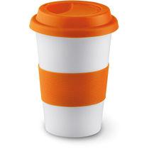 Taza de ceramica con tapa y agarre silicona tribeca naranja