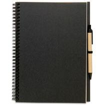 Libreta rectangular de papel reciclado personalizada negro