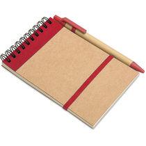 Libreta de papel reciclado con boli original rojo