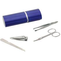 Set manicura 4 piezas con pinzas personalizado azul