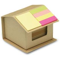 Bloc notas adhesivas carton reciclado forma de casa personalizado beige