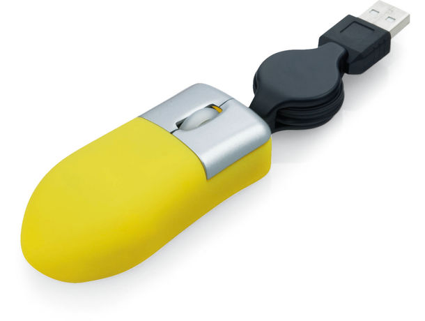 Mini raton optico con cable retractil personalizado amarillo