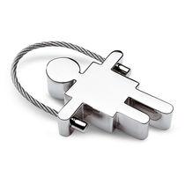 Llavero metalico forma de chico personalizado plata brillante