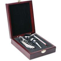 Elegante set de vino en caja de madera personalizado plata