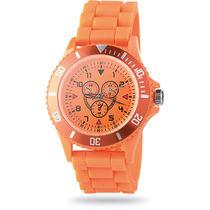 Reloj con pulsera de silicona y 3 esferas merchandising naranja