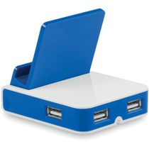 Soporte para movil con 3 puertos usb personalizado azul