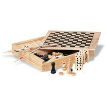 Caja de madera con 4 juegos personalizada marron madera