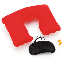 Set almohada antifaz tapones barato rojo