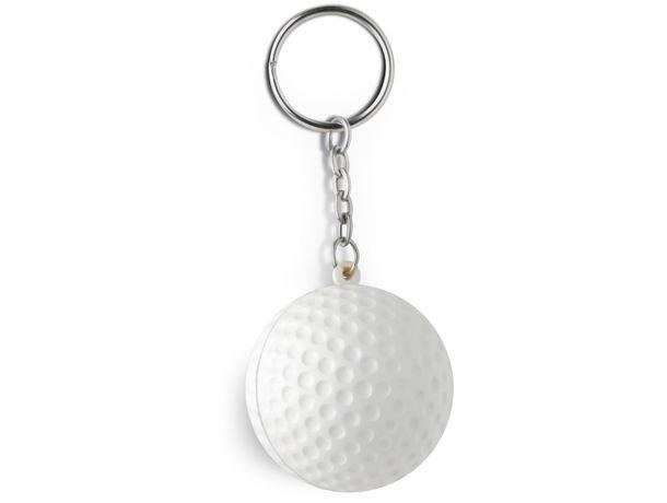 Llavero pelota golf antiestres personalizado blanco