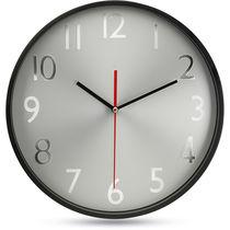 Reloj pared esfera plateada barato negro