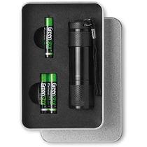 Linterna led en caja de regalo personalizada negro