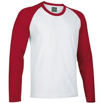 Camiseta manga larga bicolor break 185 personalizada blanco rojo