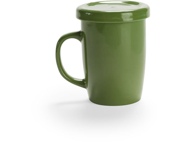 Taza de ceramica con tapa para te o infusiones personalizada