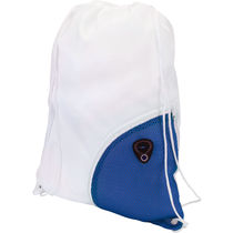 Mochila plana bolsillo auricular cuerpo blanco personalizada azul