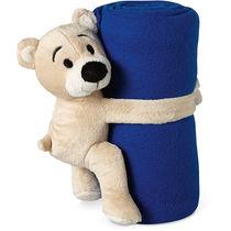 Manta polar para ninos con osito personalizada azul
