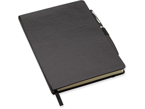 Libreta a5 con tapa rigida banda elastica merchandising negro