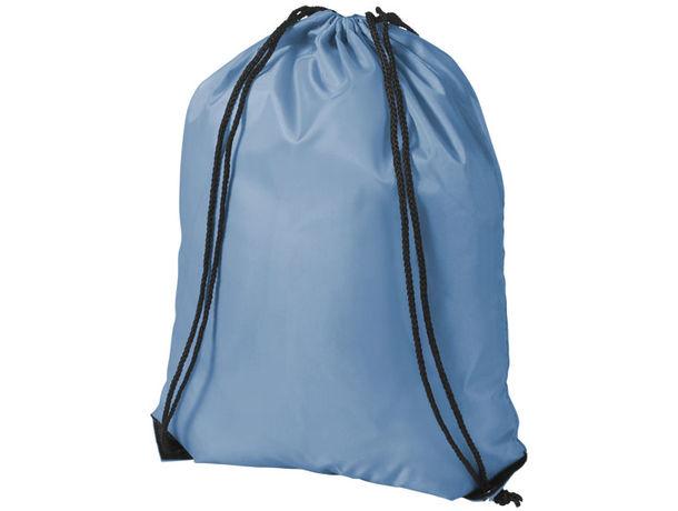 Mochila plana poliester 210d maxima calidad merchandising azul celeste