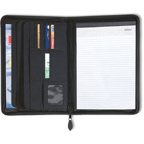 Carpeta de documentos con cremallera y bloc personalizada negro