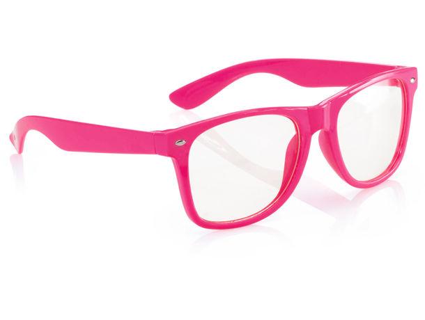 Gafas con lente transparente personalizado fucsia fluor