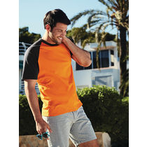 Camiseta bicolor baseball fruit of the loom 160 original naranja grafito