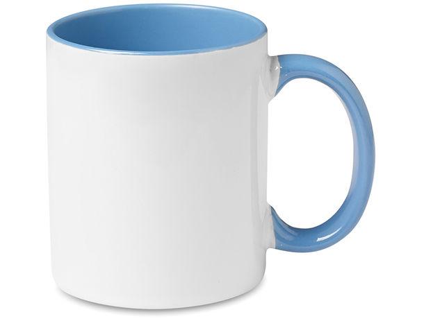 Taza de ceramica asas e interior color barata azul