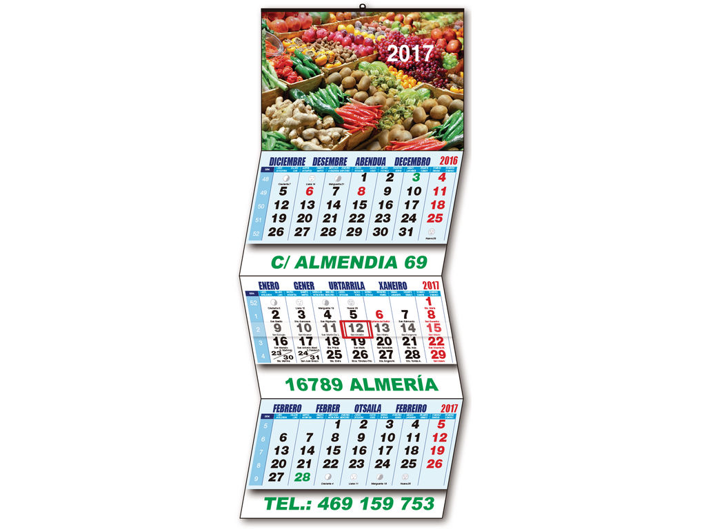 Calendario Trimestral personalizado de pared